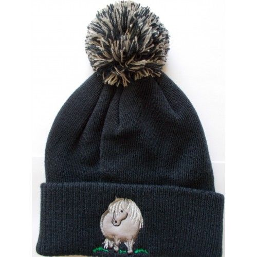 British Country Collection Navy Pompom Hat with Pony