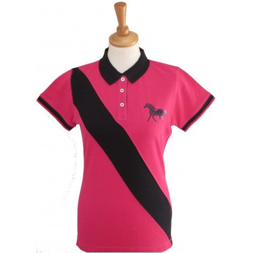 British Country Collection Pony Polo Shirt in Fuchsia/Navy
