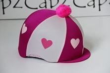 Capz Lycra Heart Hat Cover with Pom Pom in Cerise/Pale Pink