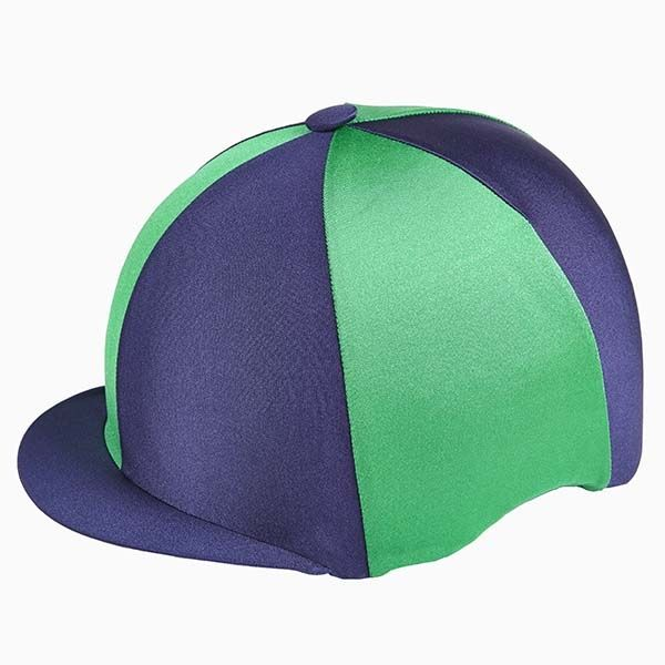 Capz Quartered Lycra Hat Cover In Navy Emerald