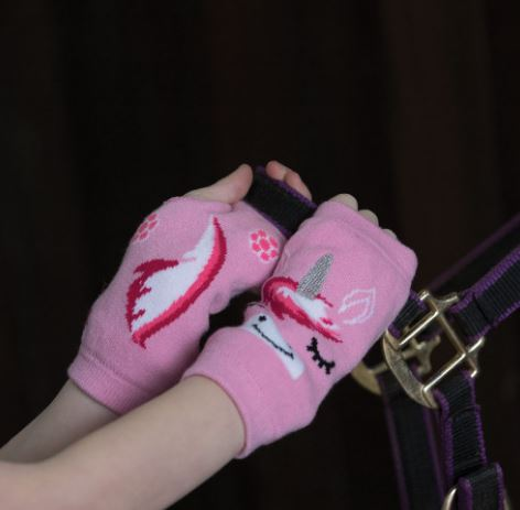 Equetech Childs Unicorn Fingerless Knit Gloves