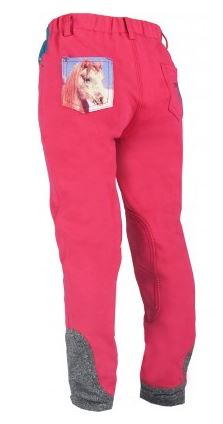 Horka 'Mathilda' Junior Breeches with Knee Patches in Hot Pink