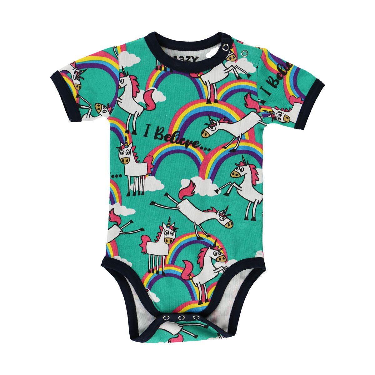 52621d1a1 LazyOne Unicorn Babygrow Vest in Turquoise